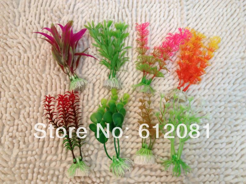 Free shipping Aquarium fish tank Ornament Plastic Plants Decor 8pcs mixed design/lot(China (Mainland))