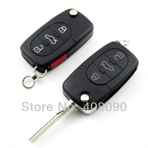New 4 Buttons Folding Remote Key FOB Case Shell For Audi