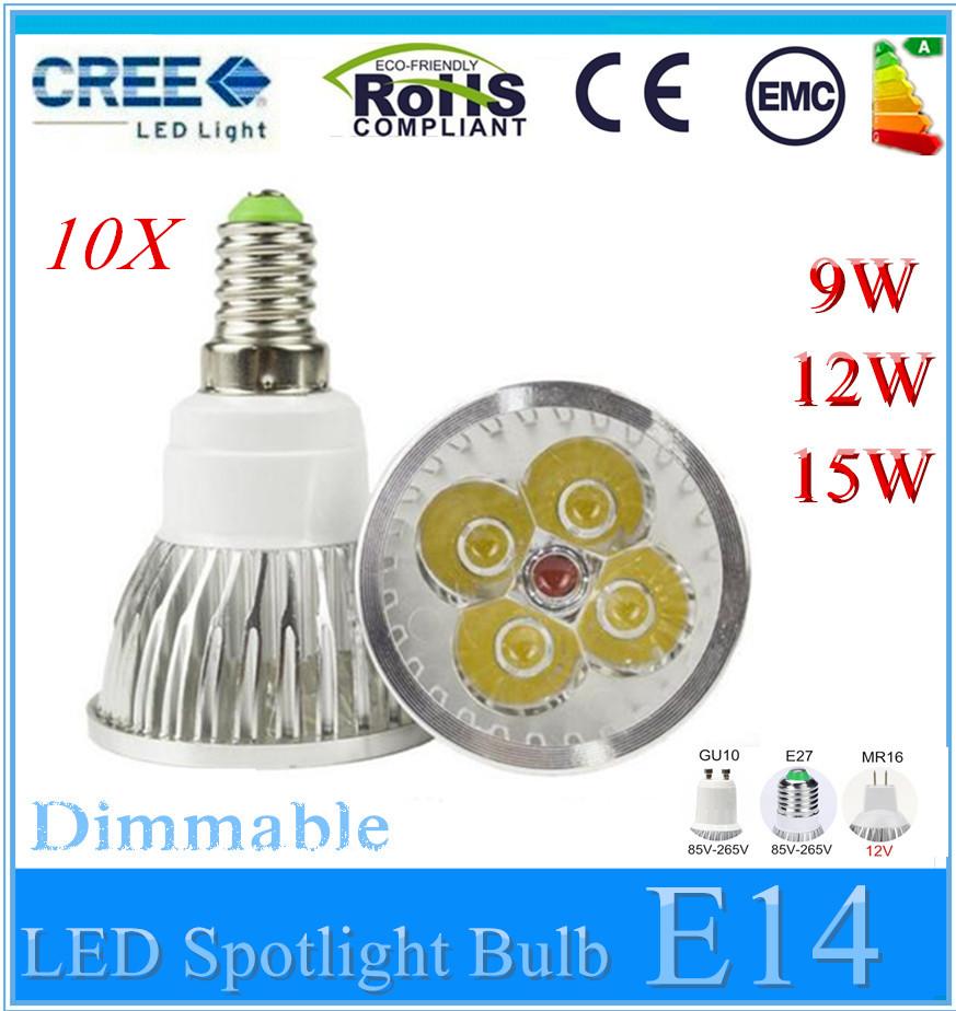 10X Super Bright 15W 12W 9W E14 LED Bulb Spot Light Lamp 12V 110V 220V Dimmable GU10 E27 MR16 Recessed Lighting Warm Cold White<br><br>Aliexpress