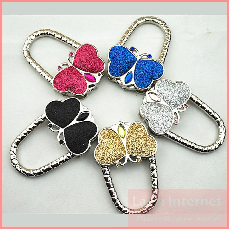 New Black/Gold/Sliver Crystal Folding Bag Purse Handbag Hook Hanger Holder kathmandu Lovely Fashion Goods(China (Mainland))