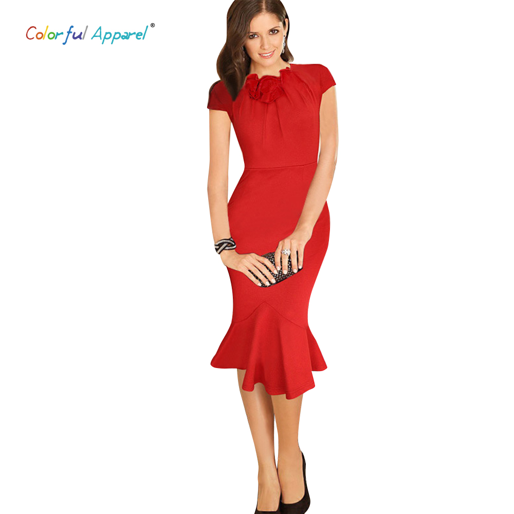 Colorful Dresses. Sweet. Cute. Stunning. When it comes to clothing that makes an impression, colorful dresses are a great choice. From casual denim to ultra-glam little red dresses made of ruffles and lace, there is sure to be a brightly colored dress out there to suit any personal style.
