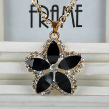Artificial Crystal Flower Shape Chain Sweet Pendant Long Necklace Women Fine Jewlery free shipping F60SS0083 S5