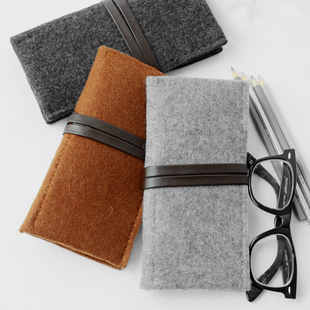 Mupu wool felt multifunctional big capacity pencil case brown free air mail