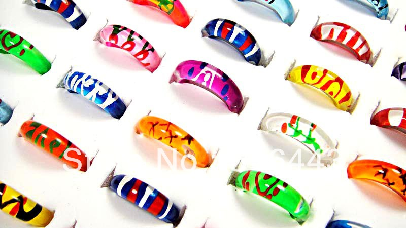 20Top Resin Fashion Hand Printed Children Women Girls Rings Jewelry Lots A-083 - Edna store