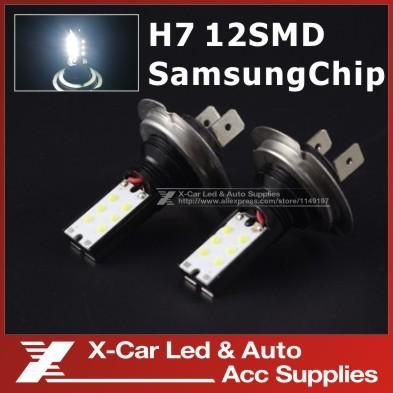 2Pcs/lot 30W 12 SMD LED Light H7 Socket H7 Base Car Automotive Day Running Light DRL Driving Fog Lights 12V(China (Mainland))