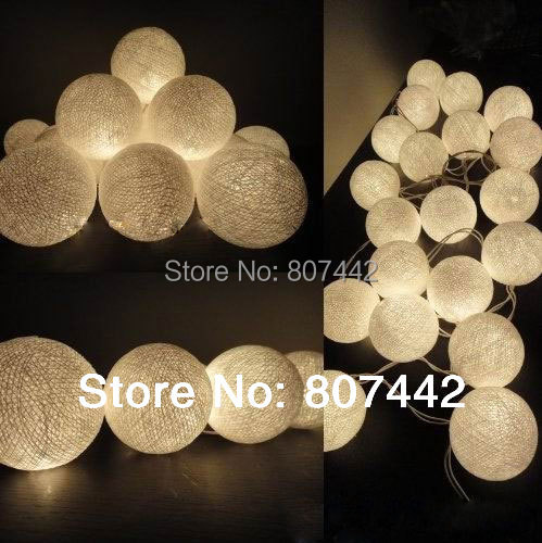 20 Balls/Set 20 Creamy white Cotton Balls Fairy String Lights Christmas,Wedding,Halloween,gift(China (Mainland))