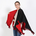 New tassel Pashmina scarf Retro solid fringed thick imitation cashmere shawl hooded cloak Cozy Blanket Double