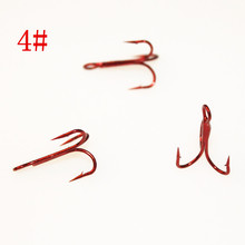 20pcs 4# New Red Color Fishing Equipment Fishing Hook High Carbon Steel Treble Hooks Fishing Tackle Free Shipping