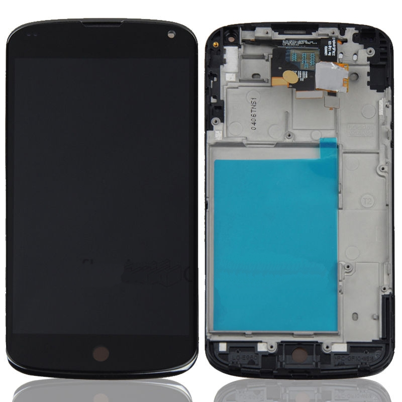 Black Nexus 4 E960 LCD Display with Bezel Frame and Touch Screen Digitizer for LG Google Nexus 4 E960,free shipping.(China (Mainland))