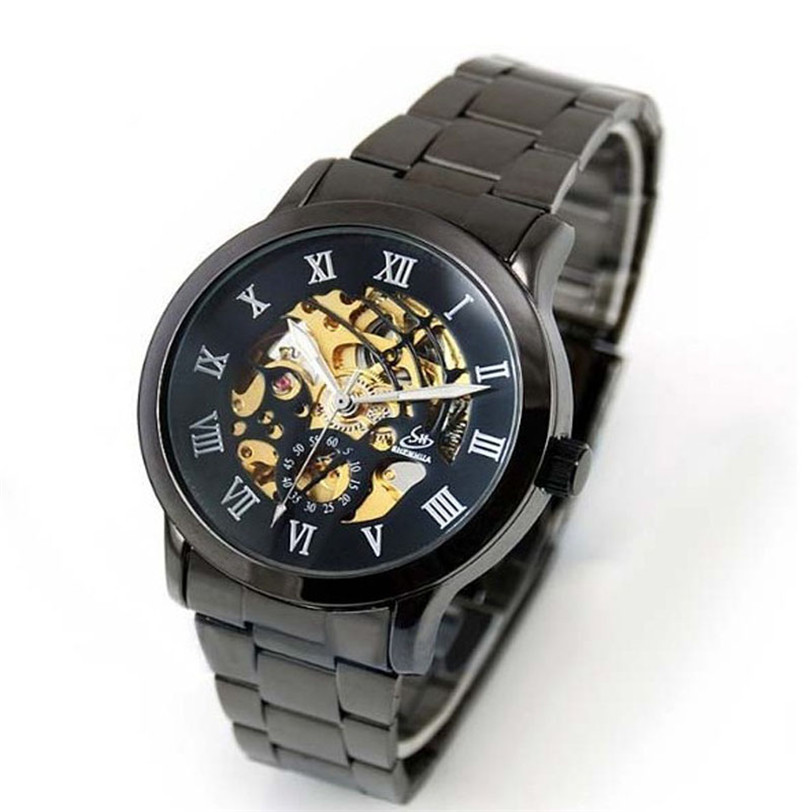 Best seller Men's wristwatch Automatic Classic Skeleton Mechanical Stainless Steel Wrist Watch May28(China (Mainland))