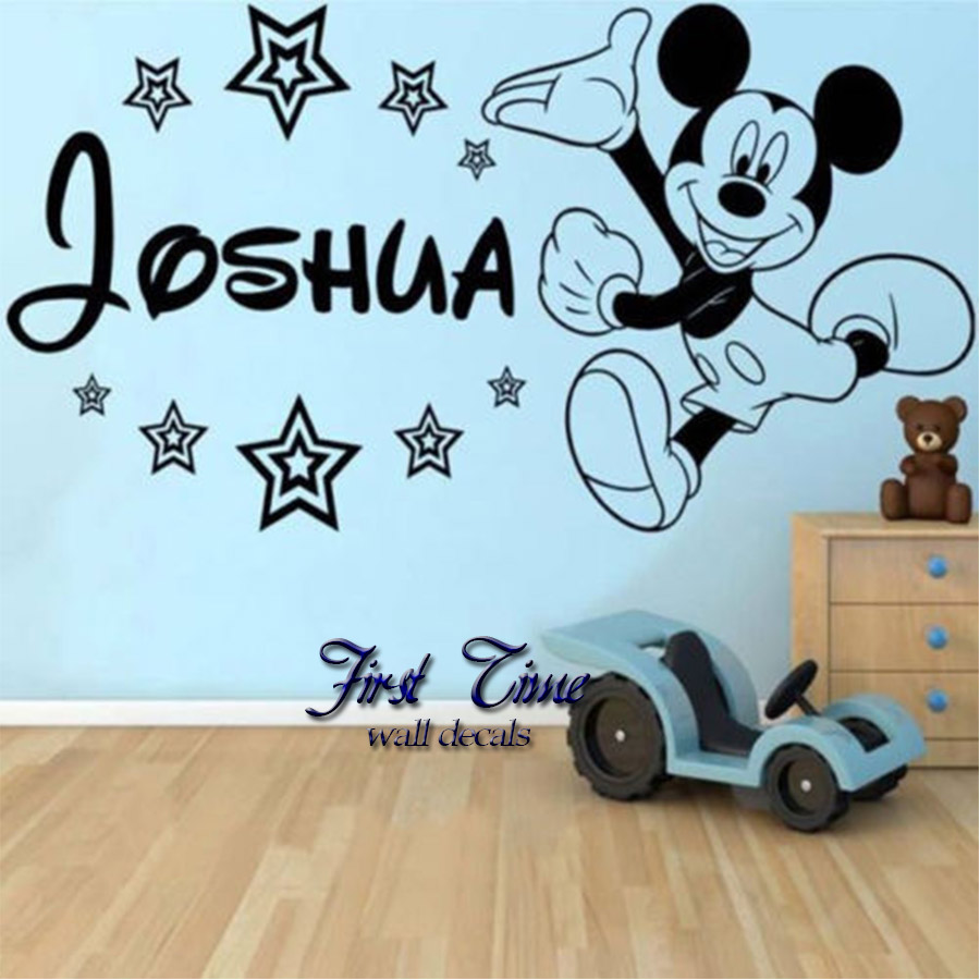 personalised name mickey mouse wall sticker classic baby 3d mickey mouse wall stickers for kids room removable baby