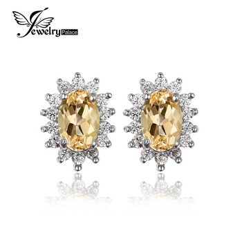 JewelryPalace 1.5ct Oval Natural Citrine Stud Earrings 925 Sterling Silver Jewelry Charms Princess Kate Diana Wedding Earrings