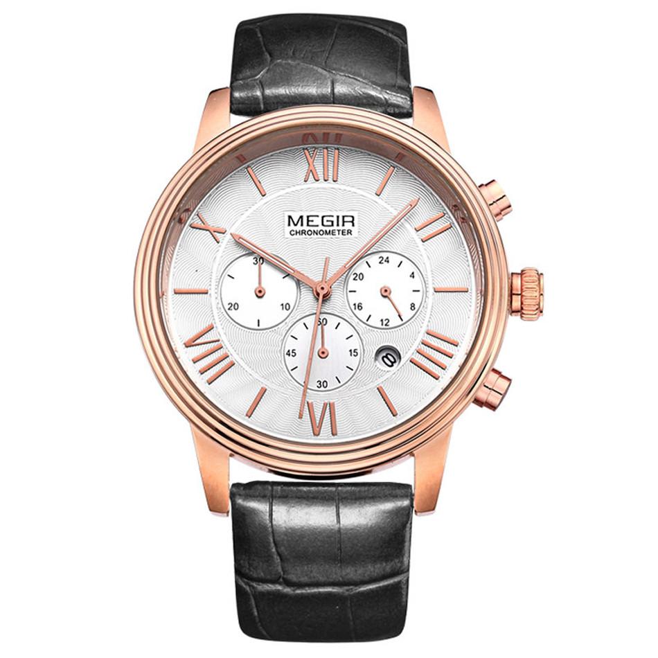 MEGIR Спорт Многофункциональный Кварцевые Часы Мужчины Военный Кварц Водонепроницаемый Простой Стиль Часы Relógio Masculino