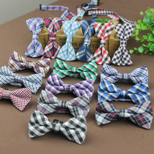 Retail Children Fashion Formal Cotton Bow Tie Kid Classical Striped plaid  Bowties Butterfly Wedding Party Bowtie Pet Tuxedo Tie(China (Mainland))