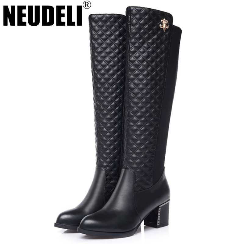 Popular Women39s Knee High Boots Winter Warm Snow Boots Ladies Buckle Fashion