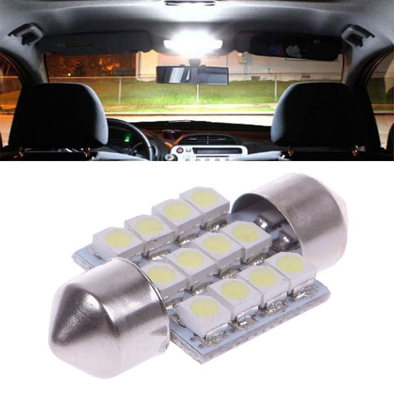 2x 31MM 12 SMD 3528 Car Interior Dome Festoon LED Light Bulbs Lamp White 12V HITM #57209(China (Mainland))