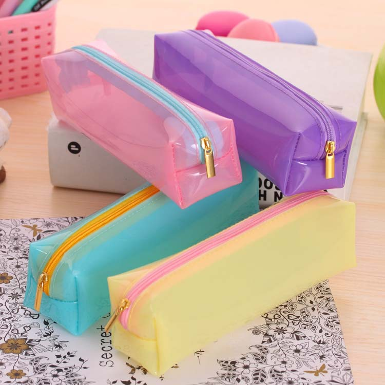 6 Candy colors pencil bag zipper pencil stationery bags cute school pencill case for office school supplies Free ShippingPC0030(China (Mainland))