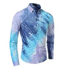 Brand 2016 Men'S Fashion Chemise Homme Multi-Style Tie-Dye Chemise Homme Slim Fit Men Shirt Casual Camisa Masculina XXL GDNKS(China (Mainland))