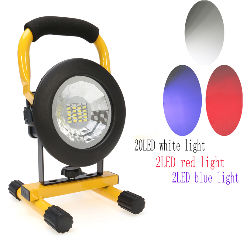 IP65 30W Floodlights Rechargeable 24 LED Flood Light Lamp Red White Blue Light for Outdoor Camping