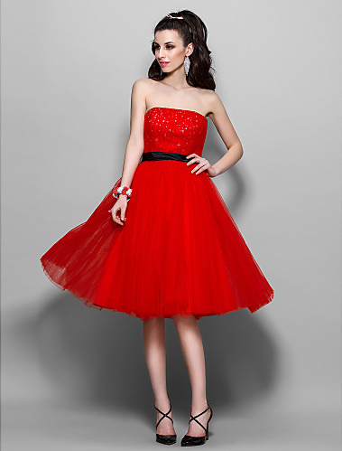 Holiday dress a line strapless knee length tulle dress in prom dresses