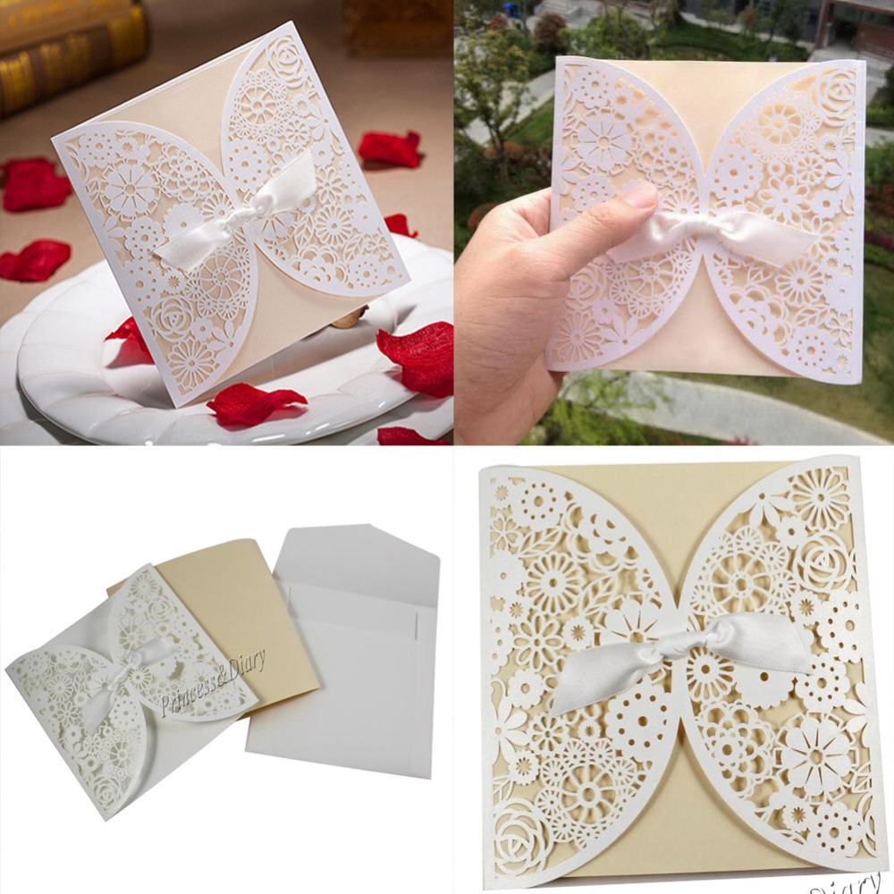 DHL/EMS Free,100Pieces Bowknot Wedding Invitation Card Laser cut White Hollow Flowers Blank Inside with Envelope Wholesales(China (Mainland))