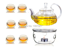 Borosilicate Clear Glass Teapot Tea Set Manually Blow-molded  Warmer+6 Double Wall Cups+10 Candles