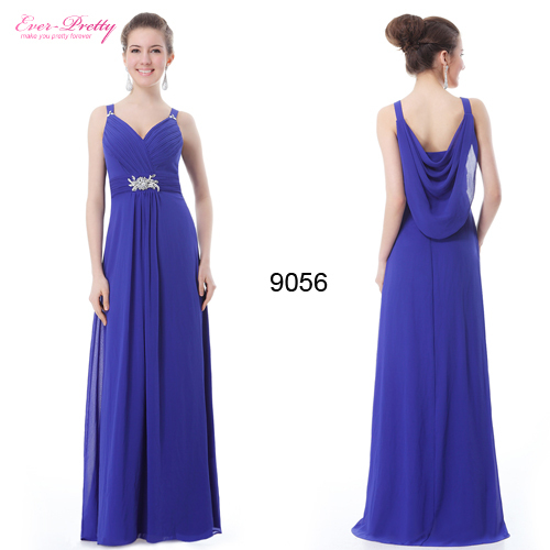 Long Evening Dresses Long Formal Gown 2015 HE09056BL Padded Gorgeous V Neck Diamante(China (Mainland))