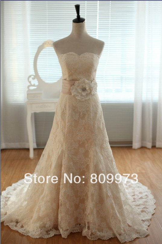 Vintage Ivory Lace Champagne Lining Wedding Dress Bridal