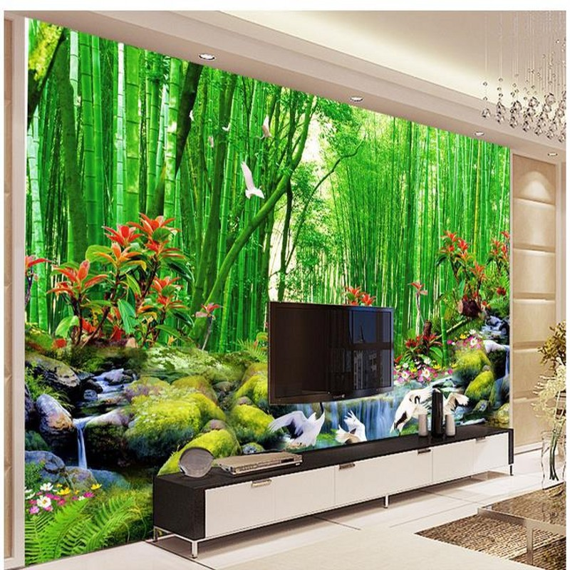 Hd bamboo murals tv backdrop 3d wall murals wallpaper for for Mural 3d wallpaper