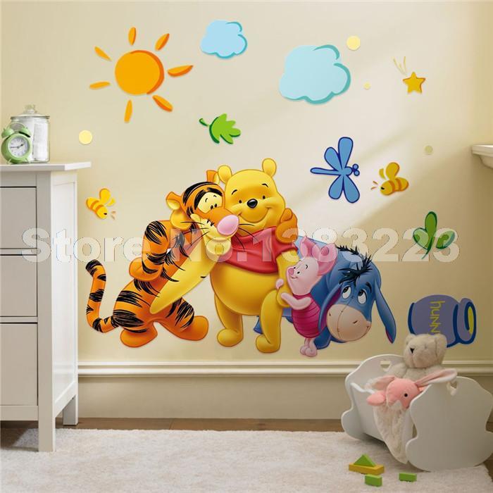 DIY Cartoon Bear wallpaper for kids rooms adesivo de parede 3D vintage child vinyl wall sticker art decals home decor decoration(China (Mainland))