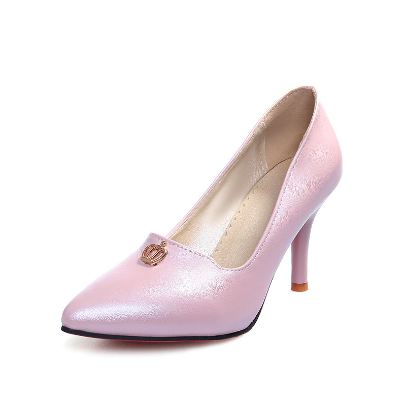 Slip On Pointed Toe Miss Shoes,Thin High Heel PU leather Sequined Solid Spring Autumn Sweet Women Pump Shoes Size 34-43 Pink