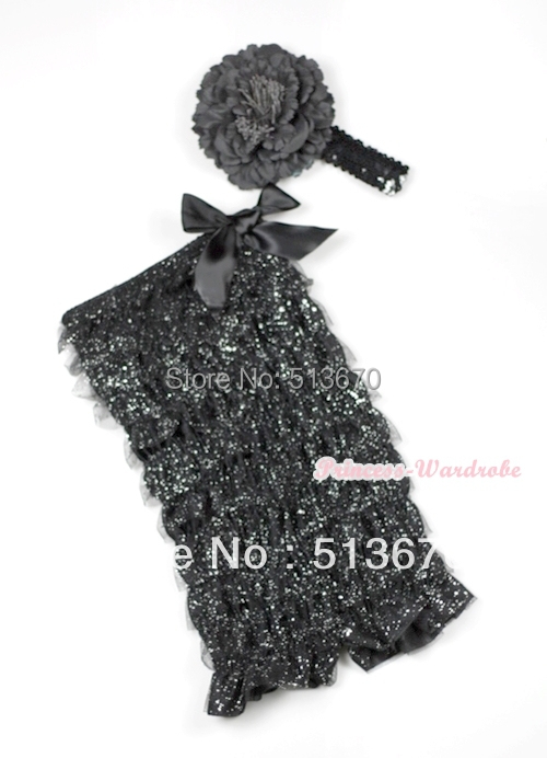 Sparkle Black Lace Ruffles Romper with Black Bows with Black Sequin Headband Black Peony Set MARH120(Hong Kong)