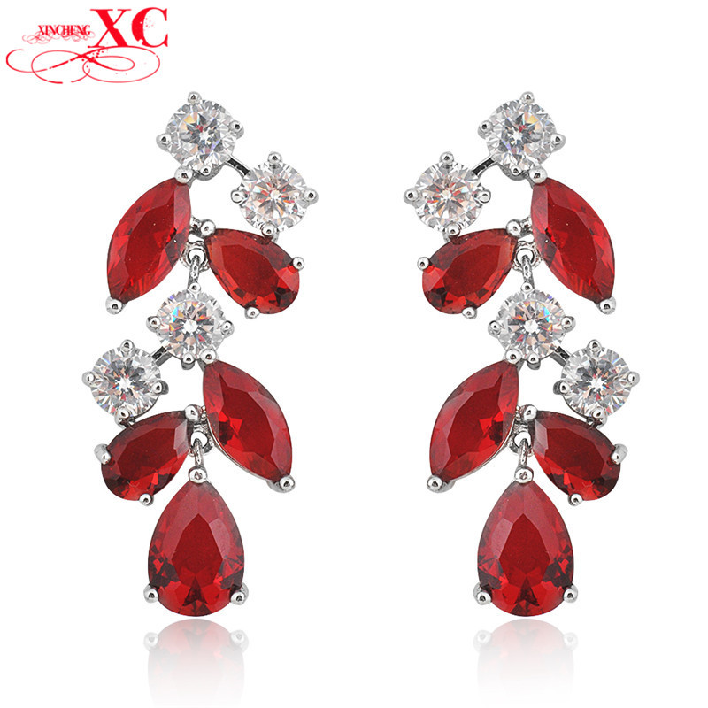 Fine Jewelry Fashion Women Earrings Wedding Earring 10KT White Gold Filled Ruby&White Zircon brincos pendientes Ear0554-04(China (Mainland))