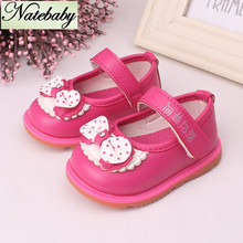 2016 new design multi color fashion butterfly knot decoration soft bottom leather baby girl shoes NX0642(China (Mainland))