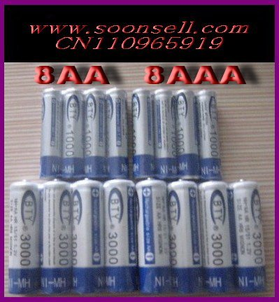 Soonsell-BIG SALE-8+8 1.2v Piles AA 3000mAh AAA 1000mAh NiMH Ni-MH Rechargeable Recharge Battery Betteries Pack + Free Shipping