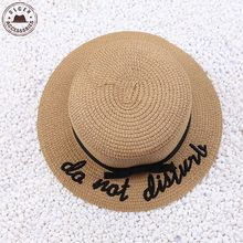 New arrival Summer sun Hat for Women cute straw bowler hat for girls letter embroidery pork pie hat with ribbon women's sun hats(China (Mainland))