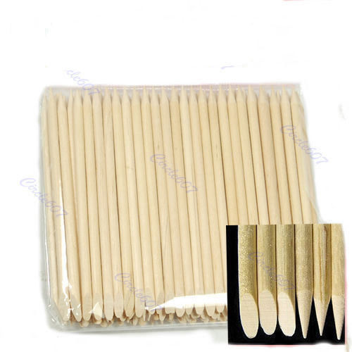 Free shipping 100X Nail Art Orange Wood Stick Cuticle Pusher Remover-Y107