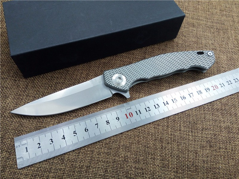 Buy New Bearhead SAND DUNE titanium handle folding knife needle roller bearing flipper utility pocket knife outdoor tactical knife cheap
