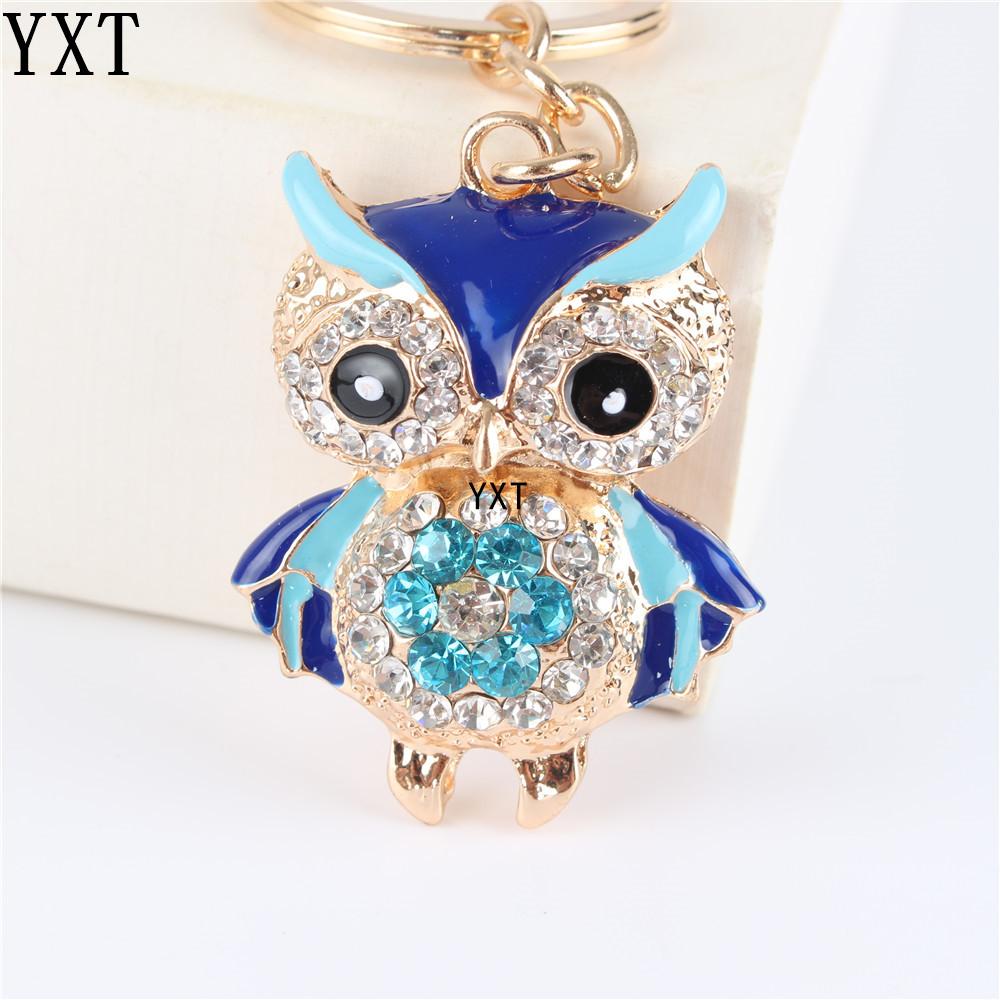 Blue Owl Bird Crystal Charm Purse Handbag Car Key Ring Chain Party Wedding Birthday Creative Gift(China (Mainland))