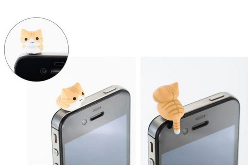 Cute 6pcs Cheese Cat 3.5mm Anti Dust Earphone Jack Plug Stopper Dirt-resistant Cartoon Dust Plug Cap For iphone HTC Top Quality(China (Mainland))