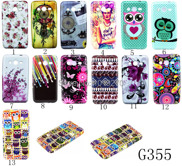 Mobile Phone bags Soft Gel Tpu cases For Samsung Galaxy Core II Core 2 G355H G355 Sleep Owls Flowers Book Design Back Cover Skin(China (Mainland))