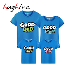 Hughina Summer Family Matching Clothes Good Baby Dad Mon Parent Home Member Carton T-Shirt Father Mother Kids Outfits Tees 1706(China)