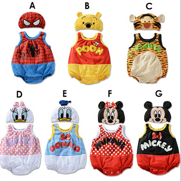 2015 summer clothes for babies baby girls boys rompers cartoon Minnie Spider-Man kids clothes body suit children set with hat(China (Mainland))