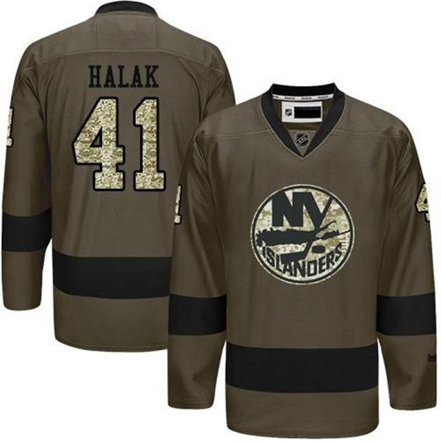 New Men's Nick Leddy Jersey #41 Jaroslav Halak Home Green Salute to Service Yorks Stitched Ice Hockey Jerseys Islanders Jersey(China (Mainland))