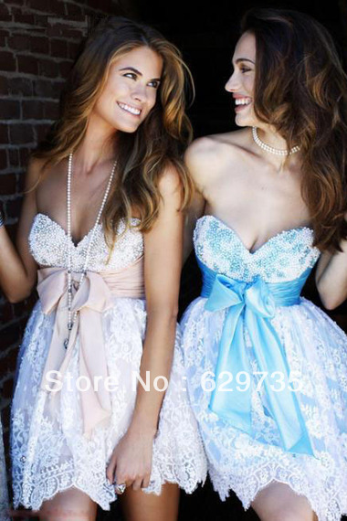 Hot Selling  A Line Sweetheart Organza Beadings & Applique Evening Homecoming Dress under $100