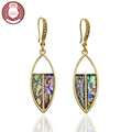 HALIFE Brand Bohemian Vintage Style Leaf Shape Natural Crystal Stone Drop Earrings for Women 2016 New