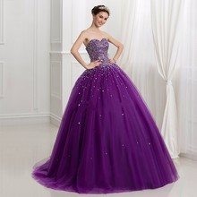 Buy Elegant Purple Sweetheart Quinceanera Dress 2017 Vestidos De Quince Anos Crystal Beadding Sweet 16 Ball Gown for $116.19 in AliExpress store