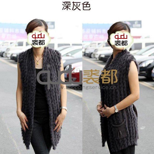 Genuine Knitted Rabbit Fur Vest Waistcoat Winter Women Fur Sweater Outerwear Coats Lady Gilet  QD11737