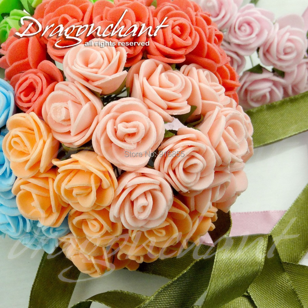 Sale!!725mm Head Multicolor PE Rose Foam Mini Flower Bouquet Solid Color/Scrapbooking Artificial Flowers - Kang Yu Jewelry accessories firm store