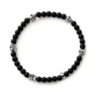 Thomas Style 8MM Black Matt Bead Skull Bracelet Elastic Bracelet,TS 925 Sterling Silver Obsidian for Men,Friend Gift Super Deal(China (Mainland))
